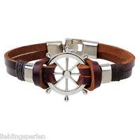 L/P 1 Armkette Armband Armschmuck Lederband Ruder Modeschmuck Punk Braun 22cm