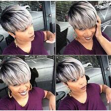 WIG PRO Fashion Charm women ladies short mix grey Natural Hairl Humanhair wigs