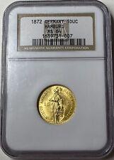 1872-B Germany Hamburg Gold Ducat - NGC MS64 - Beautiful Design - Rare Coin!