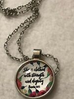 Necklace Pendant 20 Inch She Is Clothed Gospel Proverbs 31:25 Silver