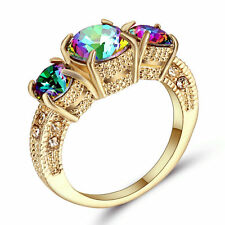 Rainbow Sapphire Claw Ring Gold Rhodium Plated Wedding Rings Band Size 8 Gift