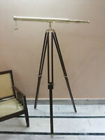 BRASS TELESCOPE WITH WOODEN TRIPOD STAND MARITIME NAUTICAL Antique Vintage DECOR