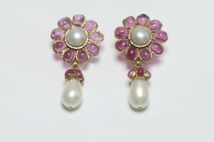 CHANEL 1995 Maison Gripoix Camellia Flower Pink Poured Glass Pearl Earrings