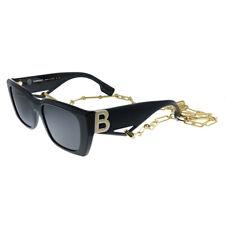 New Burberry Poppy BE 4336 392887 Black Plastic Rectangle Sunglasses Grey Lens