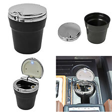 New LED Automotive Cup Holder Ashtray Coin Holder Cigarette Auto Car Truck Black