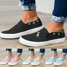 Loafer Flat Slips-On Pumps Platform Trainer Casual Women Plimsoll Boat Shoes