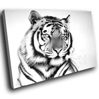 A616 Bengal Tiger Paint Brush Strokes Canvas Wall Art Animal Picture Large Print
