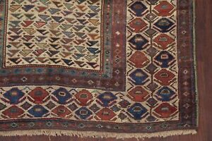Pre-1900 Antique Vegetable Dye Geometric Tribal Kazak Caucasian Area Rug 5'x7'