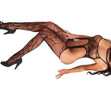 Gorgeous WHITE Suspender Garter Pattern Fishnet Body stocking Lingerie Size 6-12