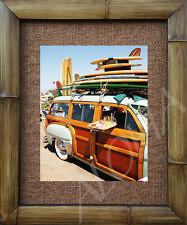 "WOODY WAGON - BEACH LUNCH   Print Handmade Bamboo Frame 20""  X 24"" Hawaii WOODIE"