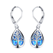 Silver life Tree Filled Blue Artificial Opal Hoop Earrings Bridal Wedding Gift