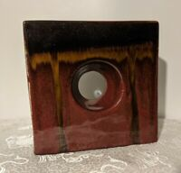 Square Ceramic Vase Center Donut Hole - Mid-century Style - Glazed Art Pottery