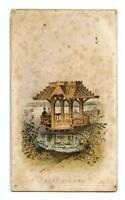 1800's VICTORIAN CARD*BOAT LANDING*GAZEBO*STOCK TRADE CARD*EPHEMERA*FOXING