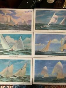 Set 6 Vinyl Placemats John Moll Sailing Vessels Paintings by Redwin 1968 17 x 11