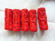 Chinesische Lackperlen, Cinnabar, Zylinder, 31 x 11 mm, Zinnober rot, 5 Stück