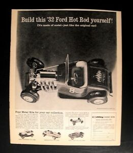 1960 Hubley Metal Model Kit 1932 Ford Hot Rod Toy Vintage Trade Promo Print Ad