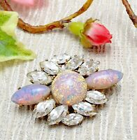 Vintage Opalescent Foil Glass Brooch with Clear Crystals