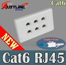 6 Port Gang Cat6 Wall Plate Clipsal Style 6 RJ45 Cat 6 Coupler F/F Jacks AwC6ff