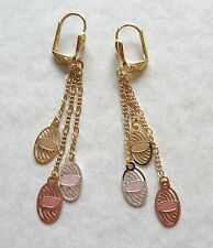 Earrings 18K gold plated-oval shapes -tri colored gold -lever back dangly