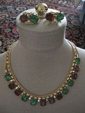 HOBE TOPAZ, EMERALD RHINESTONES W/ICE & CITRINE RHINESTONES NECKLACE & EARRINGS