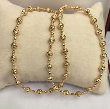 18k Solid Yellow Gold Italian Beaded Chain Necklace, Diamond Cut,10.96 Grams.18""