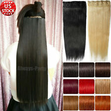 One Piece Human Hair Extensions Clip in 100% Real Remy Long Straight US Stock A4