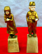 Dutch Pair Of Cute Girl & Boy Bronze & Hand-Carved Faces & Hands 19 C On Marbles