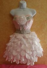 SEXY BRAND NEW PINK & WHITE PRINCESS PETAL CORSET MINI DRESS BRIDAL WEDDING