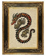 Draco The Dragon #1 Art Print on Antique Book Page Vintage Illust Constellation
