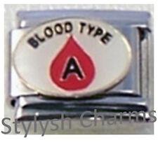 Blood Group Type a Enamel Italian Charm 9mm - 1 X Nc025 Single Bracelet Link