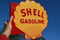 OLD STYLE SHELL GASOLINE & MOTOR OIL DIECUT THICK STEEL FLANGE SIGN MADE IN USA!