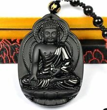 100% Natural Black Obsidian Carved Lucky Buddha Amulet Pendant + Beads Necklace