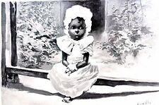 Black Americana Toddler in White Dress ROSEMARY 1896 KEMBLE SKETCH Matted Print