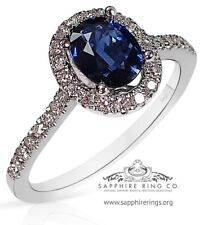 Untreated Certified 18KT 1.34 tcw Blue Oval Cut Natural Sapphire & Diamond Ring