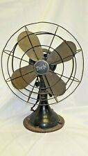 """Antique Diehl 12"""" Brass Blade Electric Table Fan Cat No. K12012-1 - AS IS - USA"""