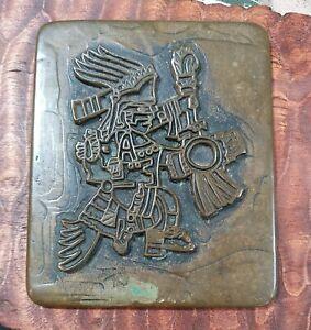 "Vtg Bronze Native American Kachina Figure Print Block Plaque Folk Art 4""×3.25"""