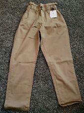 Khaki Jeans Capri Size M Womens Elastic Waistband Double Button Track Seven 7