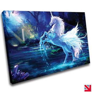 Unicorn Fantasy CANVAS Wall Art Picture Print A4