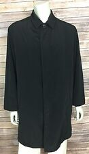 DKNY Trench Coat Rain Jacket Mens Medium Black PU Removable Wool Liner