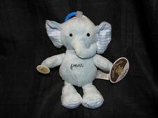 CHILD OF MINE PRESS STUFFED PLUSH BLUE ELEPHANT BABY RING LINK CLIP TOY MUSICAL
