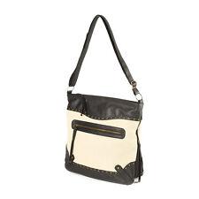 Peru Black Faux Leather and Burlap Messenger Bag - NWT
