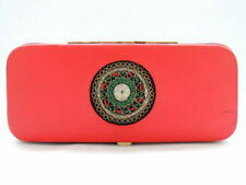 1950's Rosenfeld Vintage Israel Red Jewelry Trinket Box Decoration Embroidery
