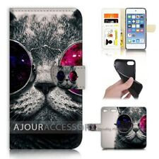 ( For iPod Touch 6 ) Wallet Flip Case Cover AJ40111 Cat with Glass