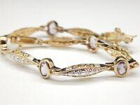 """Pretty Gold & Sterling Silver & Amethyst Bracelet 2.5 TCW Size 7"""""""