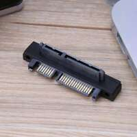 Angled 90 Degree SATA 22 Pin 7+15 Male to SATA 22 Pin Female Extension Convertor