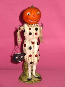 Primitive Halloween Decoration - Pumpkin Clown by Debbee Thibault