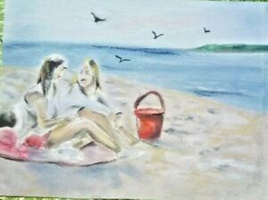 girls on the beach original painting drawing pastels