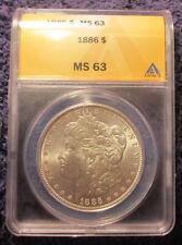 1886 Morgan Silver Dollar ANACS MS 63 Brilliant Luster