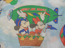 2-Piece Vtg 90s MICKEY MOUSE AIR MOBILE Twin Flat Bed Sheet & Pillowcase *Nice*