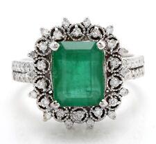 3.91 Carat Natural Zambian Emerald and Diamonds in 14K White Gold Women's Ring